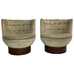 Pair of Milo Baughman Swivel Barrel Back Club Chairs