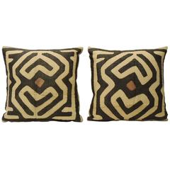 Pair of Vintage Brown Raffia Appliqué Kuba Decorative Pillows