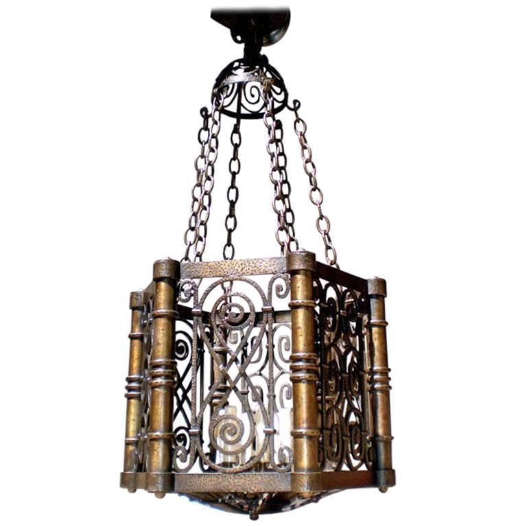 Large Hammered Bronze Lantern