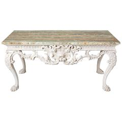 White Console Table with Green-Veined Onyx Top