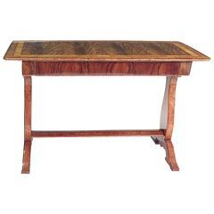 Biedermeier Walnut Inlaid Writing Table circa 1830 with Large Drawer, Austria