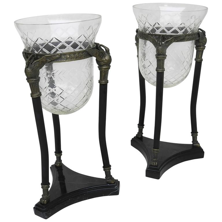 Pair Of Neoclassical Marble And Glass Swan Vases For Sale At 1stdibs