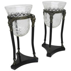 Pair of Neoclassical Marble and Glass Swan Vases
