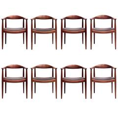 "Hans Wegner, Set of Eight ""Round Back Chairs"" in Teak with Gray Alpaca Seats"