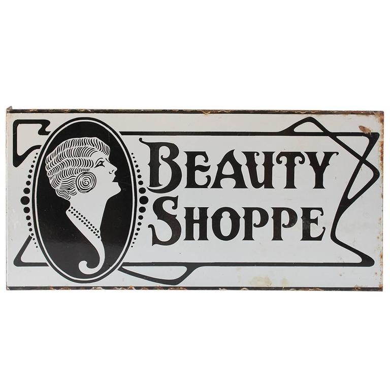 1920s Double Sided Porcelain Beauty Shoppe Sign