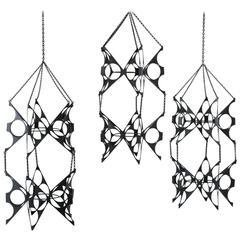 Set of Three Vintage Mid-Century Black Hanging Plant Holders