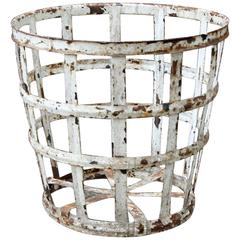 Large Painted Iron Basket, American, Early 20th Century