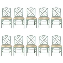Set of Ten Faux Bamboo Chinese Chippendale Dining Chairs