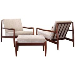 Pair of Adrian Pearsall Lounge Chairs and Ottoman, 1960s