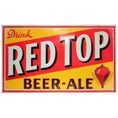 """1950s Embossed Metal Advertising Sign """"Drink Red Top Beer Ale"""""""
