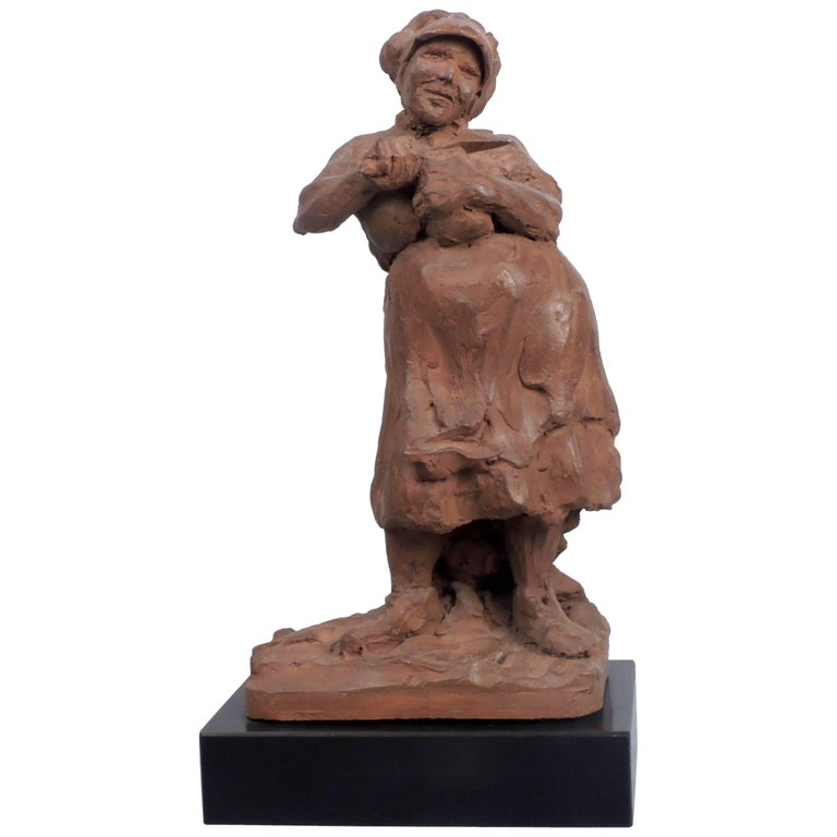 """""""Woman Slicing Bread"""" Sculpture by Ramon Lago For Sale"""