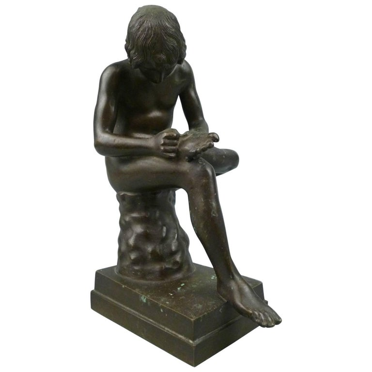 Grand Tour Bronze Sculpture of Spinario the Thorn Picker For Sale