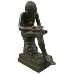 Grand Tour Bronze Sculpture of Spinario the Thorn Picker