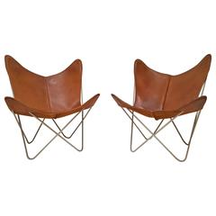 Knoll Hardoy Butterfly Sling Chairs 1954 brown leather