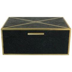 Shagreen Box with Brass Inlay