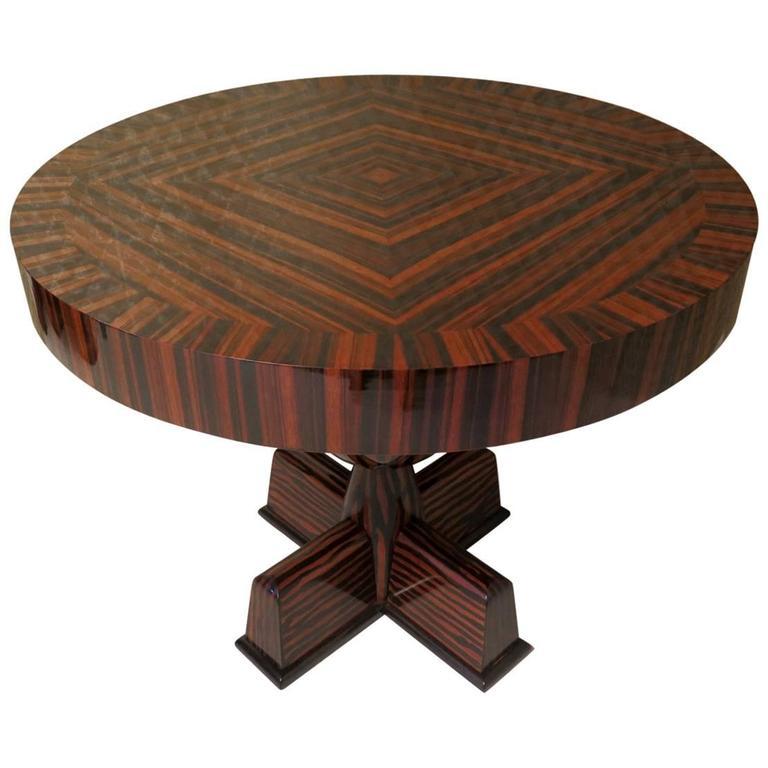 1940 Round Macassar Ebony Italian Art Deco Side Table For Sale