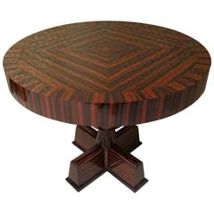 1940 Round Macassar Ebony Italian Art Deco Side Table