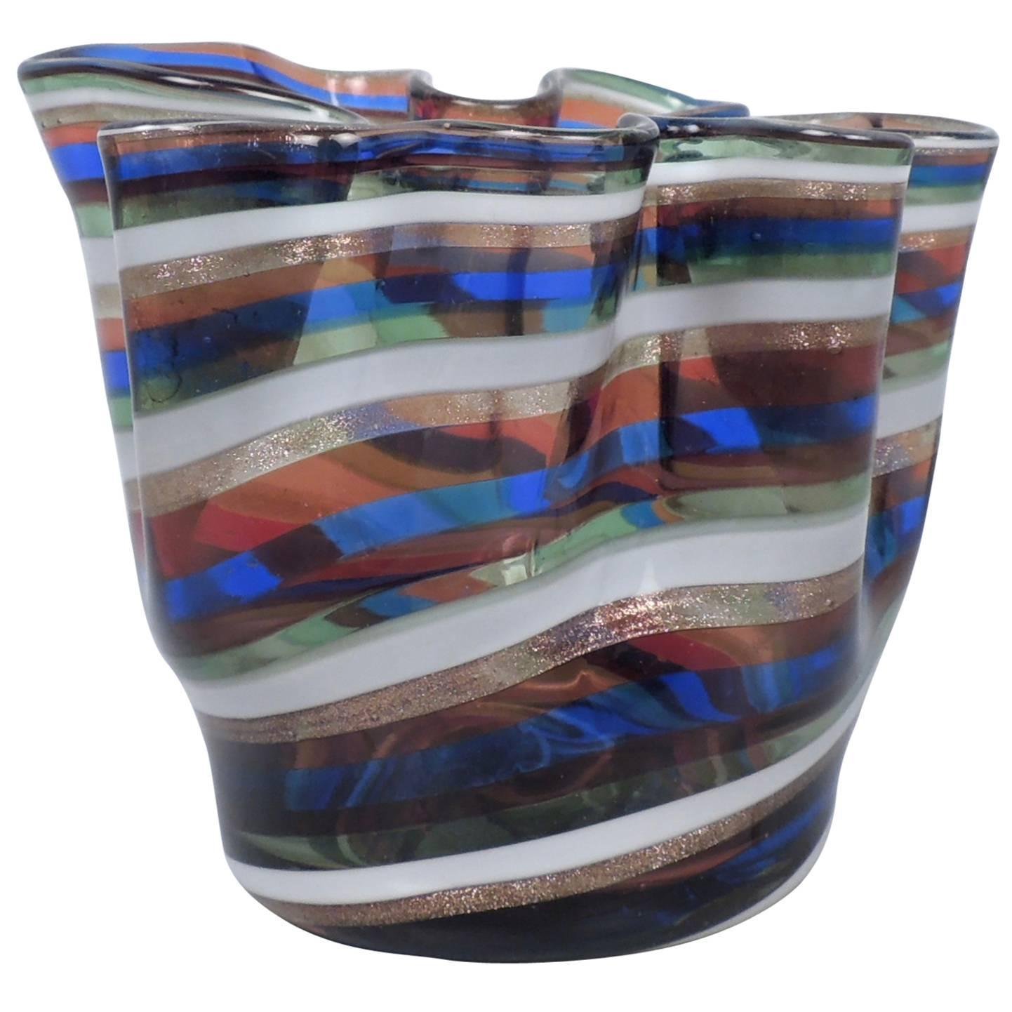 Venetian or Murano Glass Filigrana Fazzoletto or Handkerchief Vase