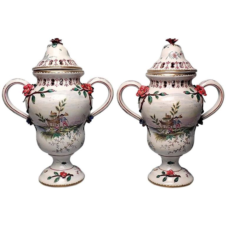 Pair Of Large Veuve Perrin French Faience Majolica Lidded Urns Or Vases For Sale At 1stdibs