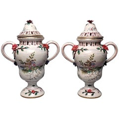 Pair of Large Veuve Perrin French Faience Majolica Lidded Urns or Vases