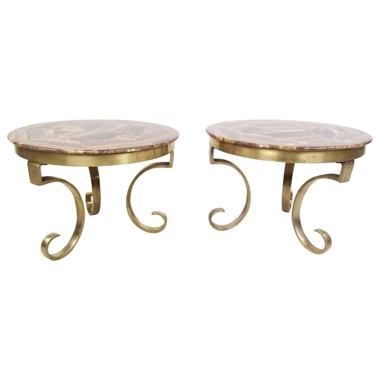 Muller of Mexico Endtables in Onyx and Brass