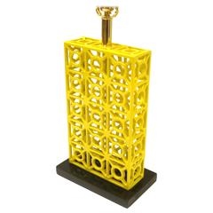 1970s Striking Yellow Powder Coated Iron Cage Style Table Lamp