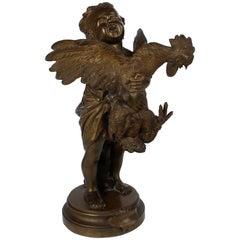 """Enfant au Coq"" a Bronze Sculpture of a Child and Cock after Cecioni Adriano"