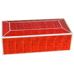 Beautiful Red Crocodile Box with Bone Inlay