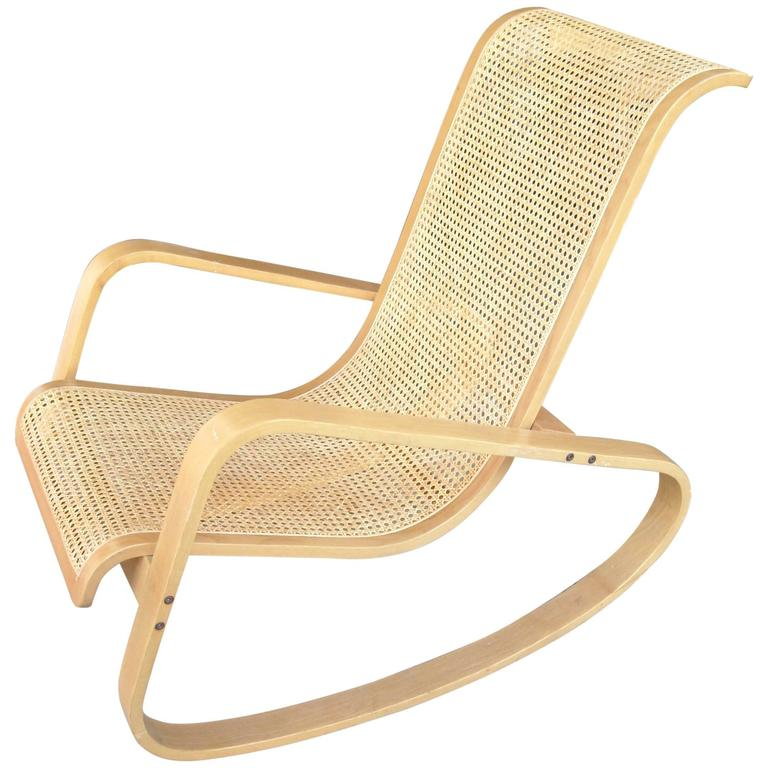 Luigi Crassevig Cane, Bentwood Rocking Chair, Signed And Branded For Sale