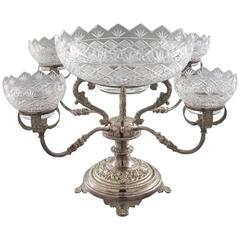 19th Century American Silvered Copper and Cut Glass Epergne with Four Bowls