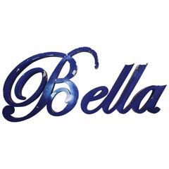 """Vintage Aluminum """"Bella"""" Sign in Script, circa 1950"""