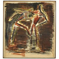 Abstract Watercolor Painting of Dancers from Germany Circa 1940