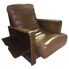 British Lounge Chair with Magazine Storage and Fold Out Sidetable
