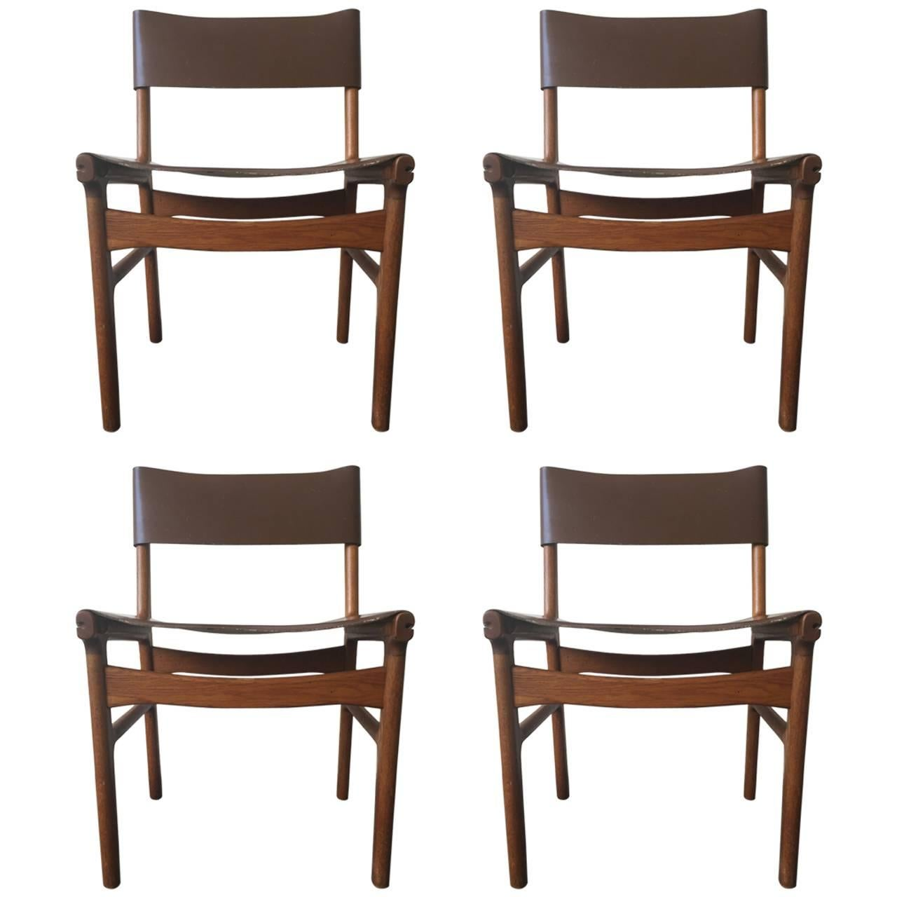 Very Rare Set of Four Dining Chairs by Illum Wikkelsø