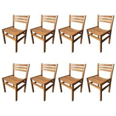 Nice Set of Eight Dining Chairs in Oregon Pine