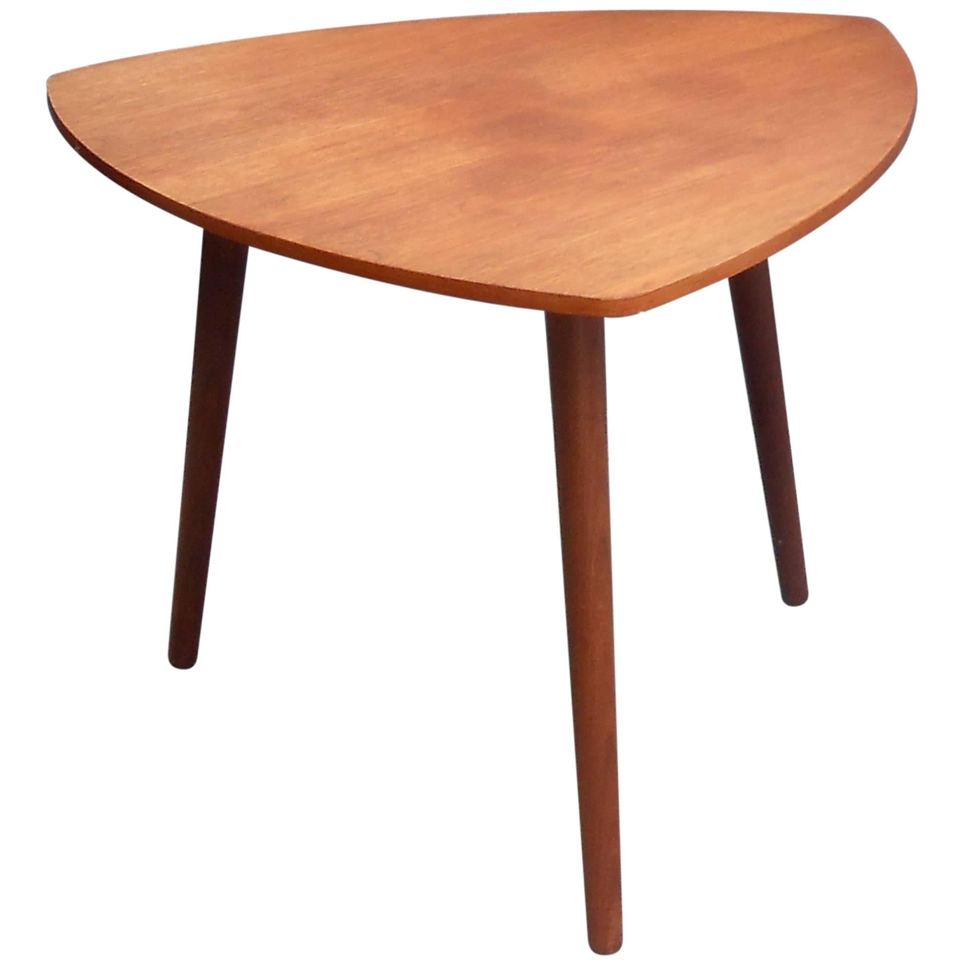 Danish Mid Century Triangular Guitar Pick Shaped Teak Coffee Table Circa 1960
