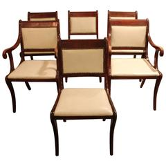 Set of Six Vintage Regency Style Dining Chairs