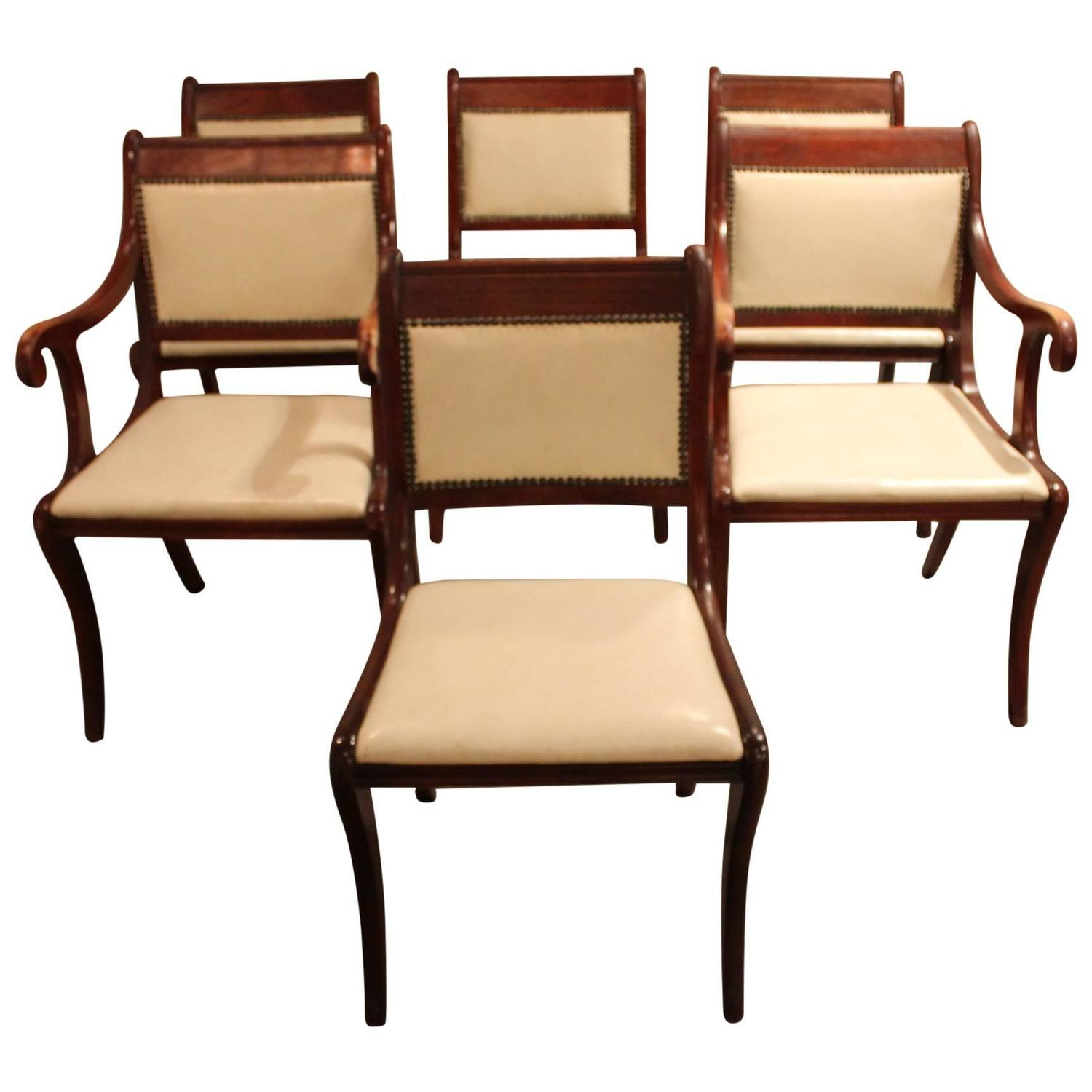 Set Of Six Vintage Regency Style Dining Chairs For Sale At 1stdibs