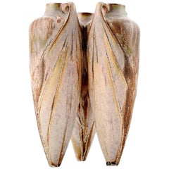 French Denbac Art Deco Pottery Vase, Three Amphora Style Vases Composed into One