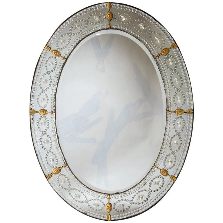 Large Oval Cut And Engraved Glass Mirror For Sale At 1stdibs