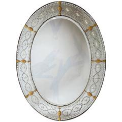 Large Oval Cut and Engraved Glass Mirror