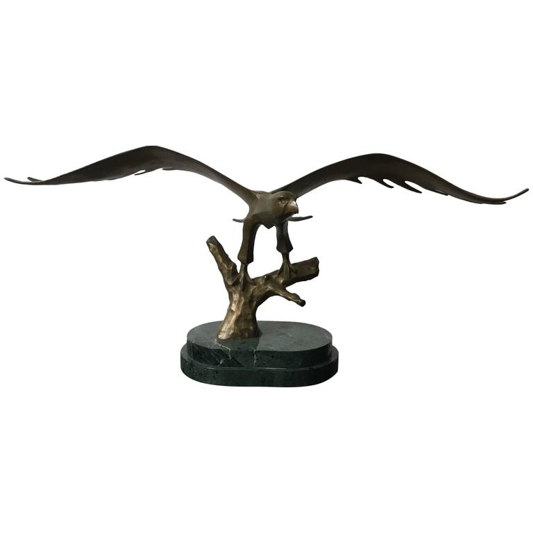 Bronze Eagle Mounted On Green Marble Base For Sale At 1stdibs