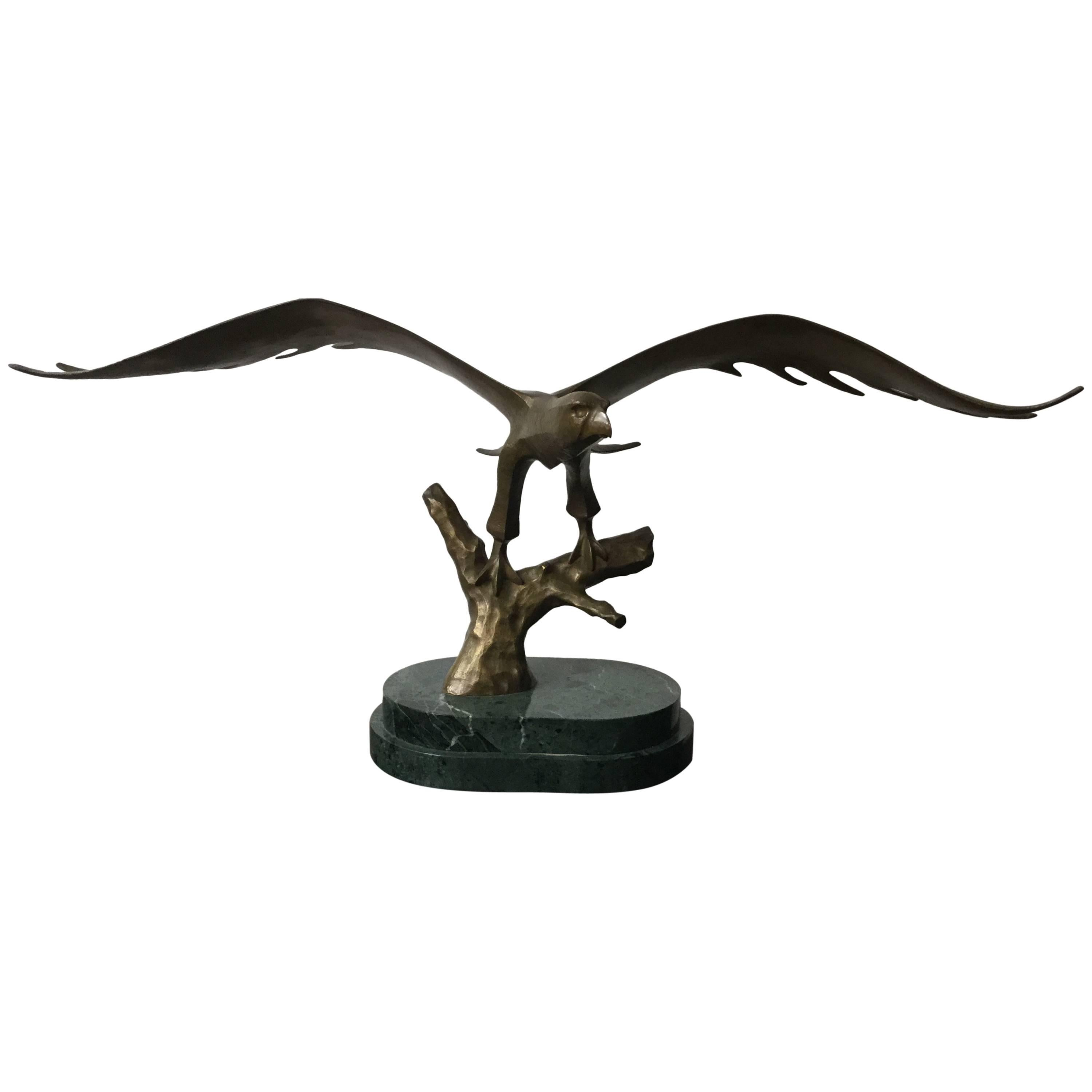 Eagle Bronze Sculpture Mounted on Green Marble Base