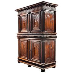 French Renaissance Cabinet with Perspective Carving