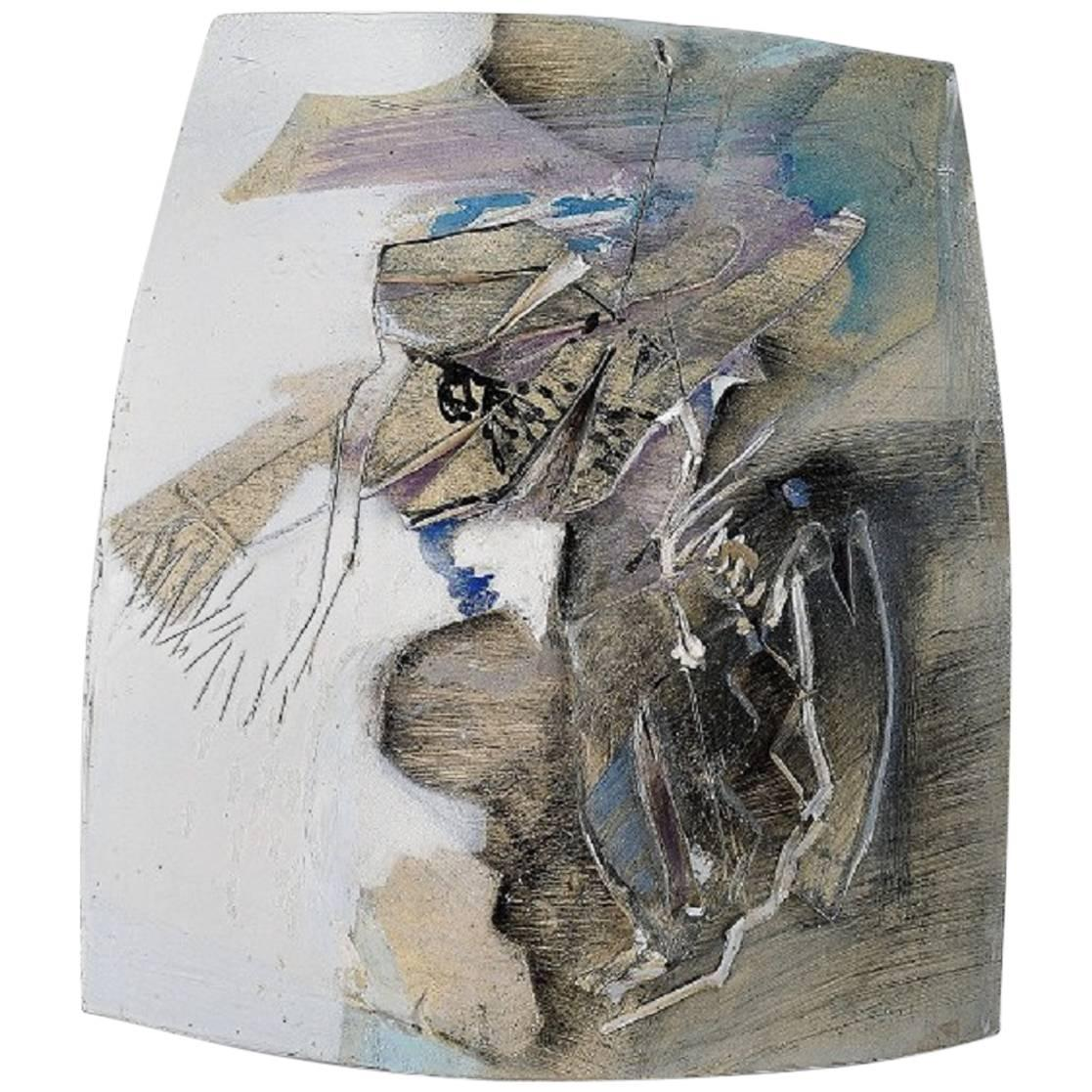 Jeppe Hagedorn-Olsen, Large Wall Plaque/Dish in Ceramics, Abstract Motif