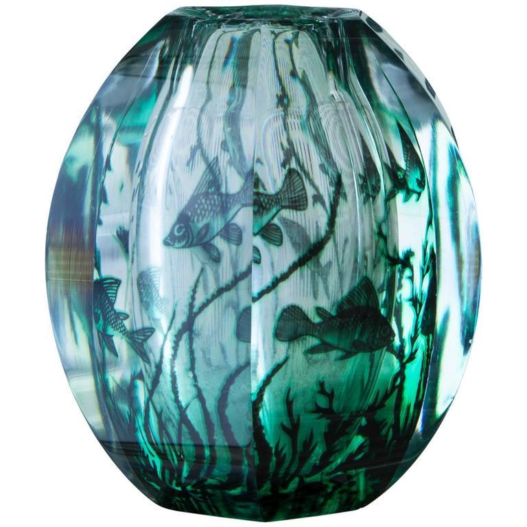 Swedish 1950s Edward Hald Fish Vase