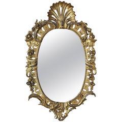 Fine Mid-19th Century Oval Giltwood Mirror