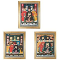 Set of Three Chinese Ancestor Paintings