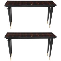 Pair of French Art Deco Exotic Macassar Ebony Console Tables, 1940s