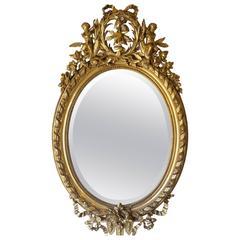 Antique Louis XVI Oval Mirror